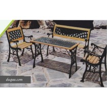 Black & Wooden Color Garden Lawn Bench