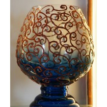 Blue Burnt Swirls Candle Holder
