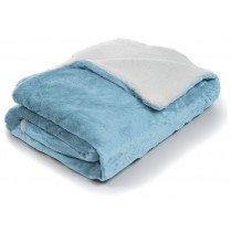 Blue Fleece With Sherpa Backing King Size Throw