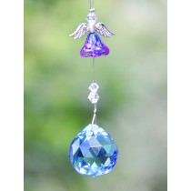 Blue Flower Angel Crystal Hanging Sun Catcher