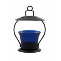 Blue Glass Hanging Metal Votive Candle Holder