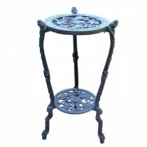 Blue Metal Frog Table Plant Stand