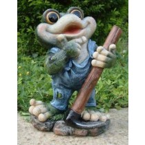 Blue Shirt Frog With Axe Garden Sculpture