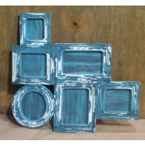Blue Washed Multi Frames Wooden Photo Frames 4'' x 6""