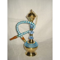 Blue & White Acrylic Work Brass Hookah