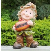 Boy Holding Fruit Welcome Sign Sculpture