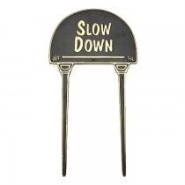 Brass Slow Down Garden Tag