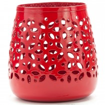 Bright Red Cutout Design Galvanized Metal Planter