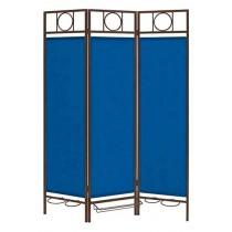 Bronze Steel Frame Folding 3 Panel Blue Screen