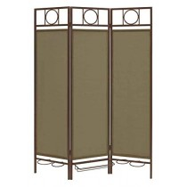 Bronze Steel Frame Folding 3 Panel Grey Screen