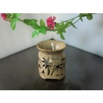 Brown Ceramic Trees & Bird Carving Oil Burner