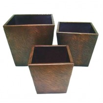 Brown Color Square Metal Planter Set of 3 Pcs