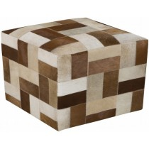 Brown & Cream Striped Leather Pouf