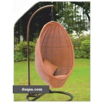 Brown Egg Shape Garden Rattan Vertical Swing(Single Seater)