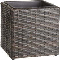Brown Finish Rattan Planter With Plastic Liner