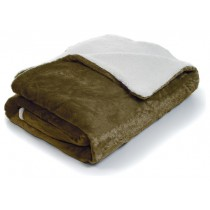 Brown Fleece With Sherpa Backing Queen Size Throw