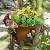 Brown Floral Designer Garden Planter With Gnome
