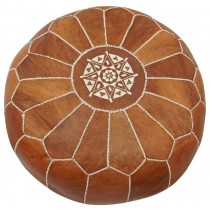 Brown Leather Cover Floor Pouf