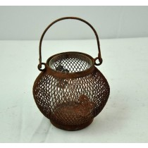 Brown Metal Wire Candle Holder With Glass