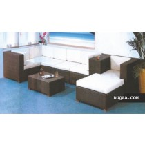Brown Modern Square Corner Garden Sofa Set