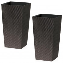Brown Rattan Tall Planter With Square Plastic Liner