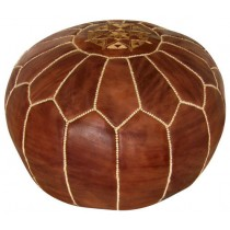 Brown Round Floor Pouf