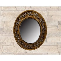 Brown Round Wall Mirror