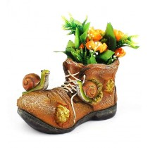 Brown Shoe and Snail Design Planter