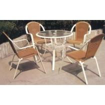 Brown & White Resin & Cast Aluminum Garden Furniture Set