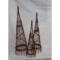Brown Willow Spiral Obelisk L 150 CMM X 120 CMS X 91 CM