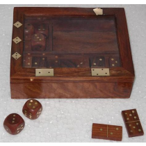 "Card Box With Dice & Domino, 5"" X 6.5"" X 2"""