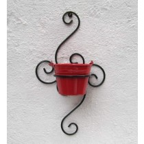 Carved Shape Bracket With Red Bucket Planter