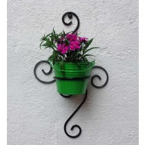 Carved Shape Wall Bracket With Green Bucket