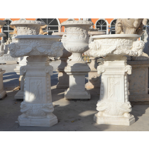 Carved Design White Marble Planters