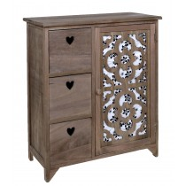 Carved Wooden Grey Cabinet With Three Drawers
