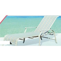 Cast Aluminum Pool Side Lounger With Strip Pattern