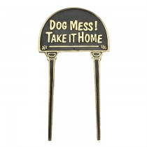 Cast Black Dog Mess! take It Home Brass Garden Tag