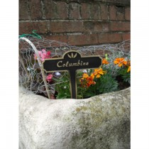 Cast Black Finish Brass Garden Tag