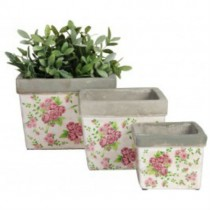 Ceramic Rose Print Planter Set of 3 Pcs