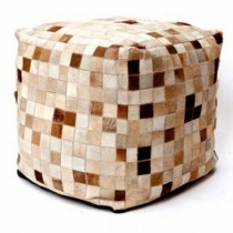Checks Design Leather Pouf