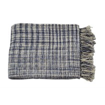 Checks Design Navy Throw