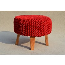 Circular Red Wooden Pouf