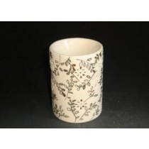 Circular White Ceramic Hand Craving Oil Burner(L 11.6 X W 11.6 X H 12.5 CM)