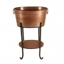 Classic Antique Copper Beverage Tub With Tray and Stand