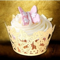 Classic Beige Butterfly Cup Cake Wrapper