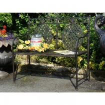 Classic Black Finish Two Seater Garden Bench