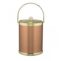 Classic Copper And Brass Ice Bucket With Metal Handle