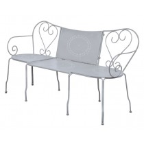 Classic Grey Finish Metal Garden Bench