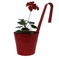 Classic Red 6 Inch Bucket Planter With Handle