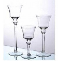 Clear Glass Pedestal Candle Holder (H 9'' X Dia 3.2 )